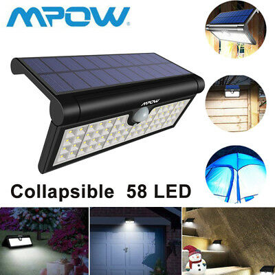 Foldable Mpow 58 LED Solar PIR Sensor Outdoor Bright Wall Light for Garden Patio