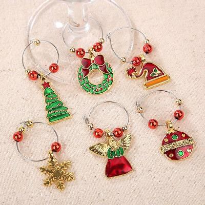 Christmas Family Glass Wine Charms Mark Ring Table Decorations Ring Gift Mixed