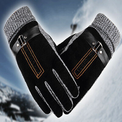 Mens Winter Leather Gloves Thick Warm Fleece Windproof Gloves Driving Black UK