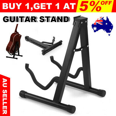 2 A Frame Guitar Stand Folding Electric Acoustic Bass Portable Floor Rack Holder