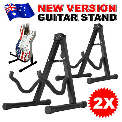 2 Guitar Stand A Frame Folding Electric Acoustic Bass Portable Floor Holder Rack