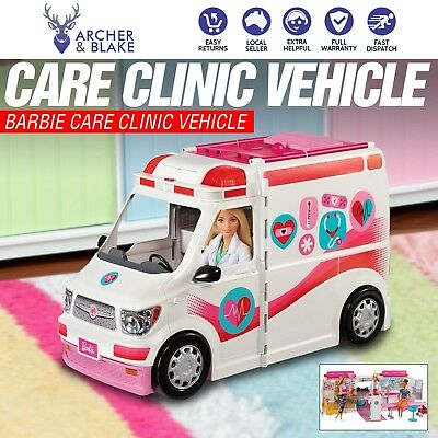 Barbie® Care Clinic Van Play Pretend Doctor Ambulance Car Vehicle Girls Toy -NEW