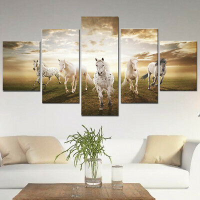 5Pcs Huge Modern Running Horse Canvas Home Wall Decor Art Oil Painting Picture