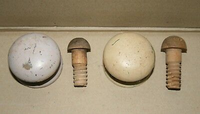 Pair Antique Original Drawer Knobs- Wooden Threads in good order