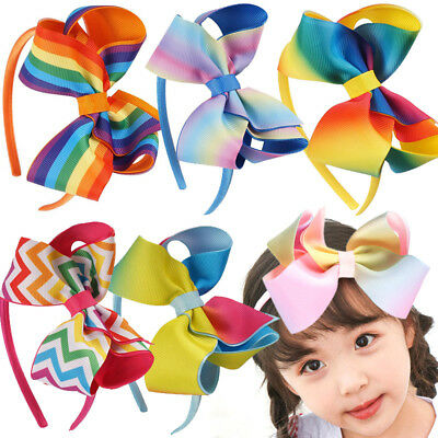 Rainbow Kids Girls Colorful Bow Headband Hairband Hair Hoop Accessories Headwear