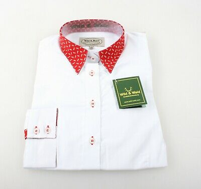 Wild & Wald Ladies Traditional Costume Blouse Red Collar Cuffs Country New
