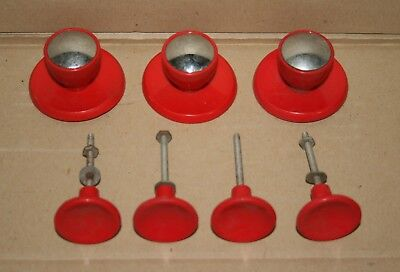 vintage 1950's drawer knobs - 7 red plastic