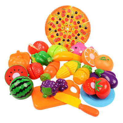 6-24pcs Kids Toy Pretend Role Play Kitchen Fruit Vegetable Cake Food Cutting Set