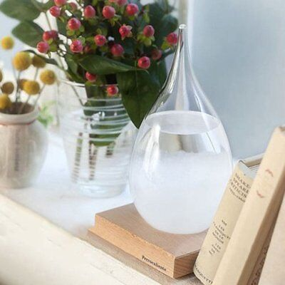 Mini Storm Glass Bottle Weather Forecast Predictor With Wooden Base Home DecorEM