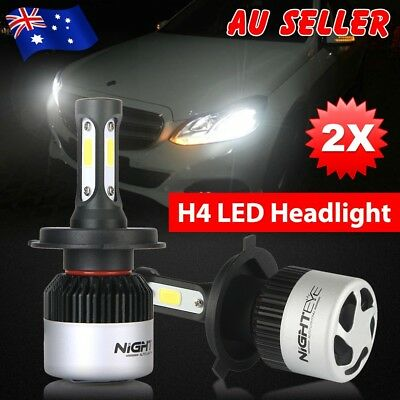 Nighteye 72W 9000LM H4 HB2 LED Headlight Kit Hi/Lo Beam Globe Bulbs 6500K White