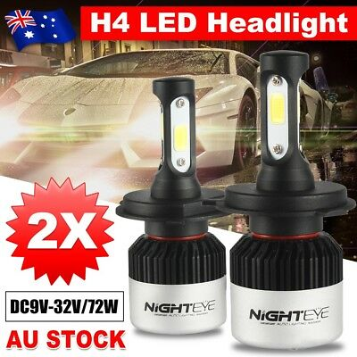 Nighteye 72W 9000LM H4 HB2 LED Headlight Hi/Lo Beam Globe Bulbs 6500K White GD