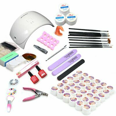 36W UV LED Nail Lamp 36 Colors Nail Gel Glitter Polish Starter Kit Nail Art Set