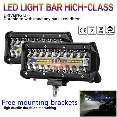 7inch 400W LED Work Light Bar Flood Spot Beam Offroad 4WD Driving Fog Lamp CA