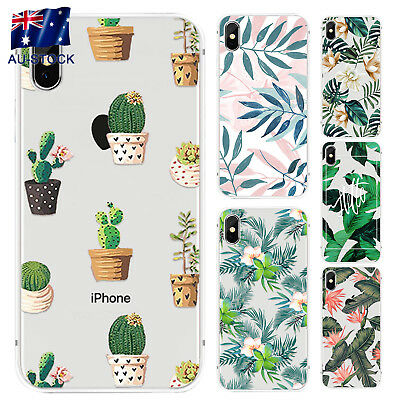 Flower Plants Cactus Leaves Silicone Phone Case For iphone X 6 7 Plus TPU Case