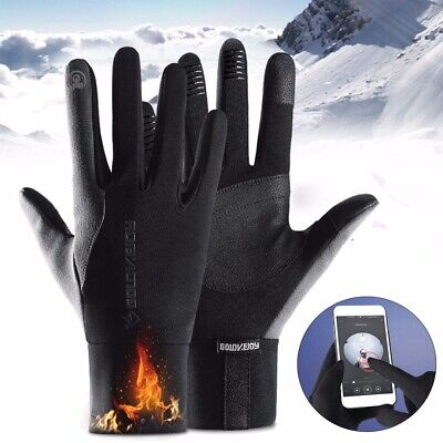 2PCS Winter Thermal Warm Waterproof Motorcycle Riding Gloves Cycling Biker Black