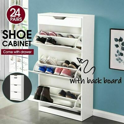 Levede 24 Pairs High Gloss Shoe Cabinet Rack Wooden Storage Organiser Cupboard W