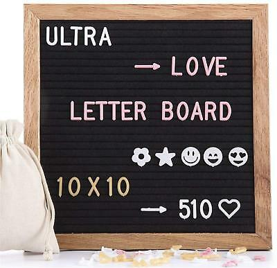 Felt Letter Board 10x10 Inches, with 510 PCS Changeable Letters & Lovely Emojis