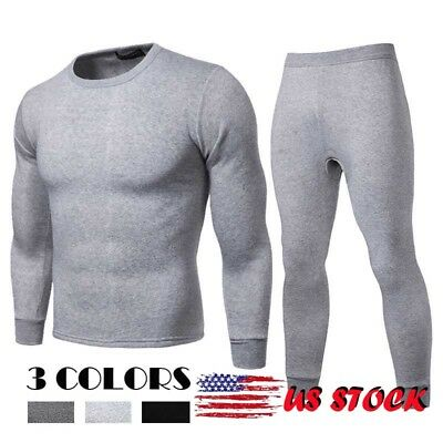 US Mens 2pc Thermal Underwear Set Long Johns Waffle Knit Top Bottom XL 2X 3X 4XL