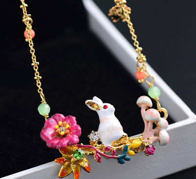 Women Elegant Beautiful Colored enamel white rabbit flowers necklace Jewelry BJ