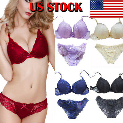 cde16ac947ff US-STOCK Women Romantic Lace Bra Sets Underwear Set Push Up Bra And Panty  Set