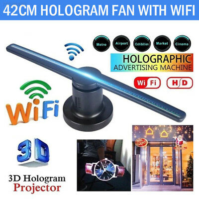 240F LED Holographic Display New 3D Hologram Projector Fan 42cm with 8G TF WIFI