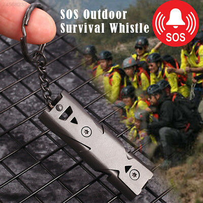 C06D Stainless Whistle Double Tube Lifesaving Emergency SOS Outdoor Survival New