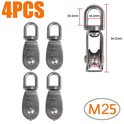 4X M25 Heavy Duty Stainless Steel Single Wheel Swivel Lifting Rope Pulley Block
