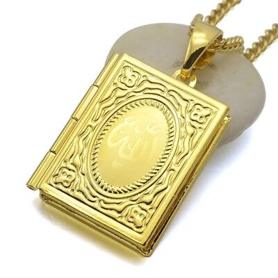 Beautiful 24K Gold Plated Allah Koran Working Locket Pendant Necklace 60cm Chain