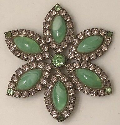 Vintage Signed Weiss Green Prong Set Art Glass Beads and Rhinestones Brooch Pin