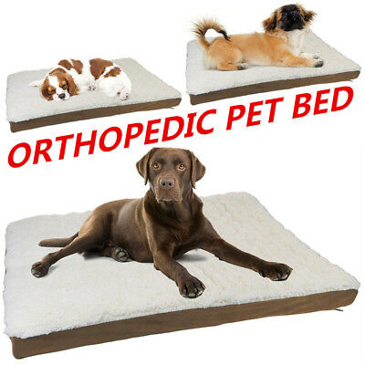 Dog Pet Bed Mat Orthopedic Pad Memory Foam Medium Large XL Soft Sherpa 3 Sizes