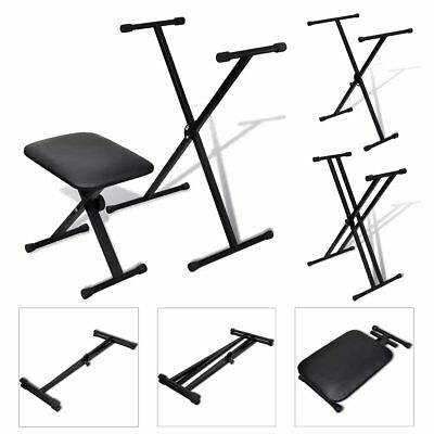 Adjustable Single/Double Braced Keyboard Stand and Stool Set X-Frame Foldable