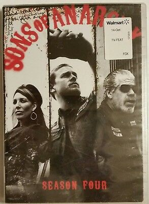 SONS OF ANARCHY Season 4 (2012, 4-DVD Set) *Charlie Hunnam* SHIPS OUT Mon-Sat!