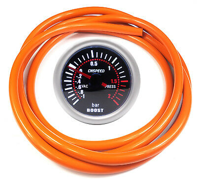 52mm CN-1 Smoked Turbo Boost Gauge 2 Bar With Orange Silicone Hose