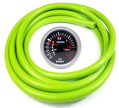 52mm CN-1 Smoked Turbo Boost Gauge 2 Bar With Green Silicone Hose