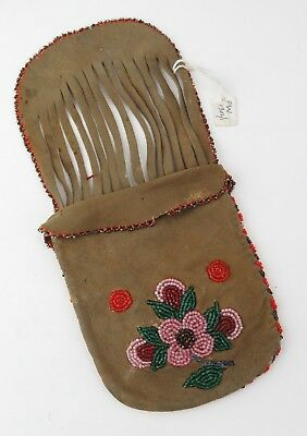 Native American Indian Plateau buckskin and beaded puzzle purse. PROVENANCE