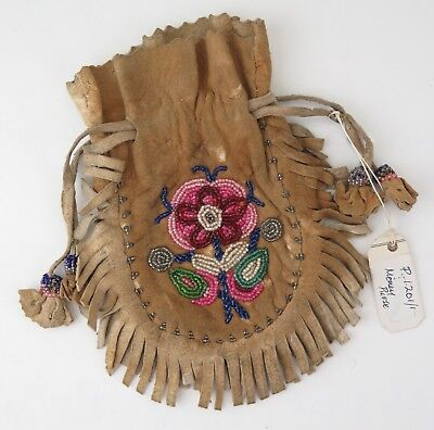 Native American Indian Buckskin drawstring beaded bag. PROVENANCE