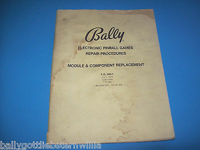 Bally 1978 Electronic Pinall Machine Component Replacement Manual