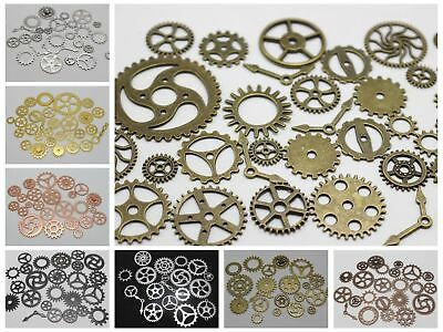 50 Assorted Steampunk Filigree Gears Charm Pendant Finding Cogs Disc Color Choic