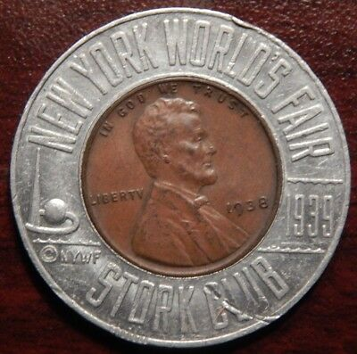 1938 Encased Wheat Cent New York World's Fair And Stork Club Combination Nice !!