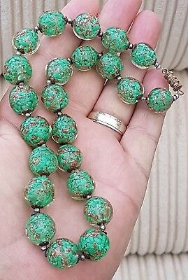 Stunning Vintage Art Deco Jewellery Crafted Glass Murano Beaded Gold Necklace