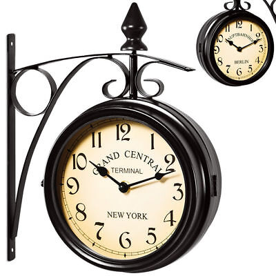 Two sided Train station Wall clock - Black - Vintage design - Quartz wall clock