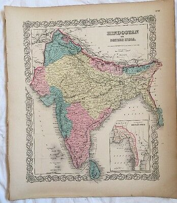 HINDOSTAN or BRITISH INDIA, No 30, Antique Atlas Map 1855 Colton World Maps +