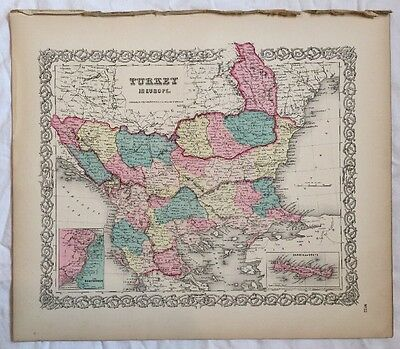 TURKEY in EUROPE, No 22, Antique Atlas Map 1855 Colton World Maps +