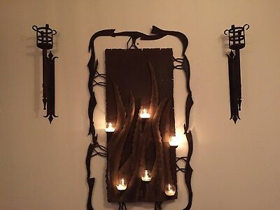 Gothic Vintage Mexican Wrought Iron Wall Candle Holder Includes 2 Wall Sconces .