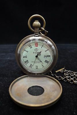 Very Rare Fine Old Bronze Pocket Watch with Chain Good Quality