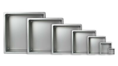 """PME Square Cake Pans/Tins 4"""" - 16"""" Square Top Quality Hard Wearing (3 inch Deep)"""
