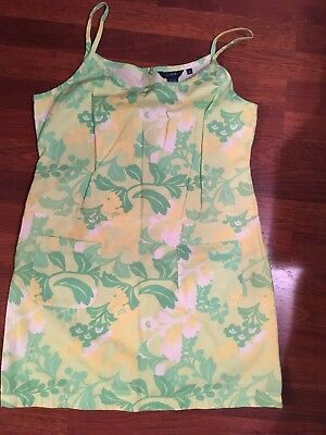 NWOT j crew Vintage 1990s 60s Style Groovy Retro Green Floral Shift Dress 10 12
