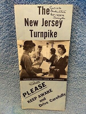 OLD Vtg  New Jersey Turnpike Road Map NY   full length fare $1.75!!