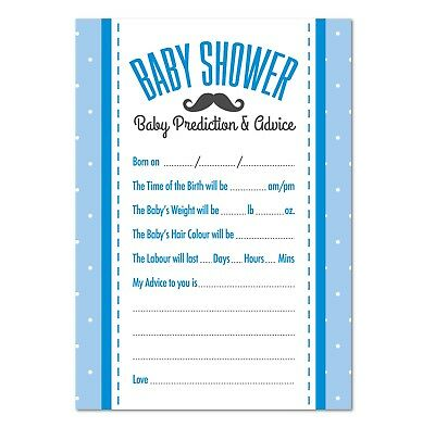Baby Shower Prediction / Advice Game, Pack of 16, Boys Blue Moustache Theme