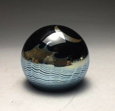 Correia Moon & Sea Iridescent Art Glass Signed Paperweight